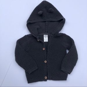 Carters button up cardigan sweater hooded  knit